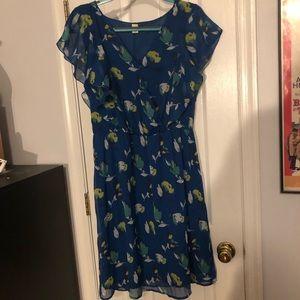 Old Navy Blue Floral Dress Large